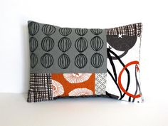 Patchwork Pillow Cover, hand printed seed pod fabric, linocut, 12x16, home decor, quilted