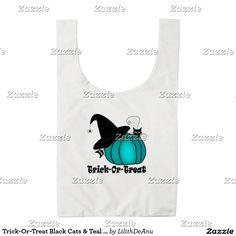 Trick-Or-Treat Black Cats & Teal Pumpkins Bag