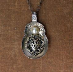 Vintage Spoon and Upcycled Jewelry Pendant
