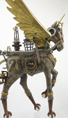 """Cavalique"" Steampunk Horse Assemblage using antique and vintage parts by Larry Agnello at assemblique.com List of Materials: Wood Horse Fou..."