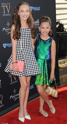 Maddie pictured with her dancer sister Mackenzie Ziegler at the Reality TV Awards in Hollywood, California