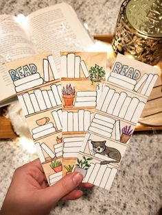 Hand painted bookmarks to keep track of your TBR and or what you've read! Creative Bookmarks, Cute Bookmarks, Bookmark Craft, Corner Bookmarks, Handmade Bookmarks, Paper Bookmarks, Origami Bookmark, Crochet Bookmarks, Bullet Journal Writing