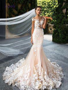 Romantic Tulle Scoop Neckline Backless Mermaid Wedding Dress Appliques  Flowers Lace Natural Waistline Sleeveless Bride Dresses 4b899e2ee561