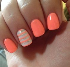 Colourful Nails Add Glamour To The Summer – Page 8 of 21 – Dazhimen - Summer Nail Colors Ideen Short Nail Designs, Toe Nail Designs, Acrylic Nail Designs, Coral Nail Designs, Coral Nails With Design, Acrylic Nails, Fingernail Designs, Spring Nails, Summer Nails