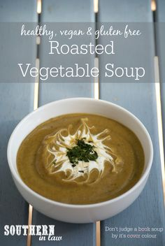 This Healthy Roasted Vegetable Soup Recipe might not look the prettiest but it sure is delicious! This soup is low fat, gluten free, healthy, vegan, dairy free, clean eating friendly and the perfect way to increase your veggie intake! Roast Vegetable Soup Recipe, Roasted Vegetable Soup, Roasted Vegetables, Veggie Soup, Veggies, Healthy Soup Recipes, Alkaline Recipes, Vegan Recipes, Elimination Diet Recipes