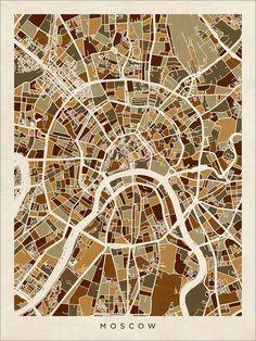 Moscow Street Map Russia Art Print 494 от artPause на Etsy