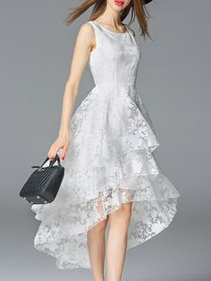 Crew Neck Beach Sleeveless Floral Organza Midi Dress - I think this would make a lovely wedding dress for a less formal setting - maybe on the beach even.  Beautiful!