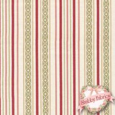 """Garden of Enchantment 8077-E By Maywood Studio: Garden of Enchantment is a beautiful collection by Maywood Studio. This fabric features rows of red, green, tan, and cream stripes. Width: 43""""/44""""Material: 100% CottonSwatch Size: 6"""" x 6"""""""