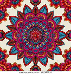 Mandala boho hand drawn seamless pattern. Vector illustration
