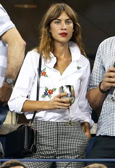 alexa chung wears white embroidery shirt