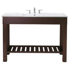 "48"" LOFT Bathroom Vanity (Dark Walnut) #BathroomRemodel #BlondyBathHome #BathroomVanity  #ModernVanity"