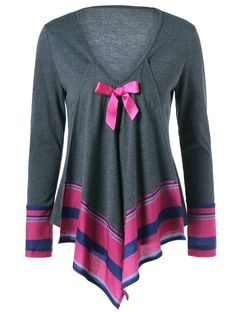 Bowknot Embellished Asymmetrical T-Shirt