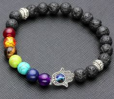 Hamsa Chakra Bracelet with Lava Stones Very earthy but still cool with the rainbow beads with the black.