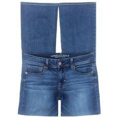 """American Eagle Kick Boot Stretch Bootcut Jeans American Eagle 'Kick Boot' stretch jeans. Medium blue, distressed wash. Cotton/Viscose/Polyester/Elastane. Size 12 Long. They have a 8.5"""" rise and 33"""" inseam. Pre-owned condition. Amazing fit! American Eagle Outfitters Jeans Boot Cut"""