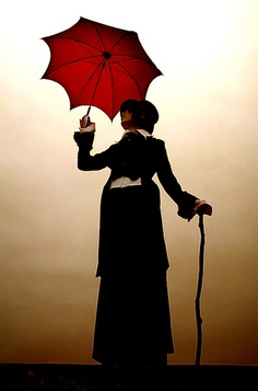 The red umbrella and the woman