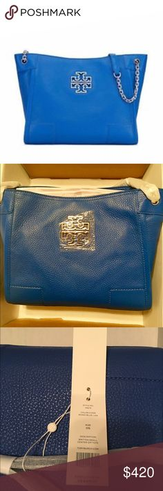 NWT Tory Burch Britten tote bondi blue 🎁NWT gorgeous bright blue Britten tote. 100% authentic purchased from Tory Butch store at the Palazzo in Las Vegas. Never even taken out of the packaging from the store. (It was mailed because I saw it, didn't buy it, desperately needed it, and now i realize it's too similar to one I own 🙄). Color is bondi blue and is like the stock image. More pics upon request. Do not lowball me. The price is seen on the tag. Tory Burch Bags Totes