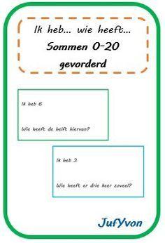 ©JufYvon: ik heb, wie heeft...? sommen 0-20 gevorderd. Te downloaden via volgende link: http://jufyvon.blogspot.nl/2014/09/ik-heb-wie-heeft-sommen-0-20-gevorderd.html.