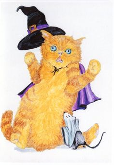 Costumed Cat and Mouse Halloween 5x7 card by MILESTOGOwithALI, $5.00