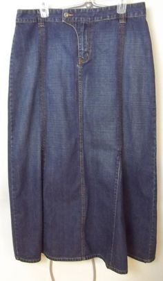 Nautica Jeans Jean Skirt Blue Denim Flare Long Modest No Slit Women's Size 14 #NauticaJeans #Flare
