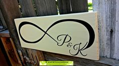 Personalized Infinity Name Sign, Shabby Chic Handpainted Wood Wedding Established Sign, Family Establish Sign by KandMInnovations on Etsy