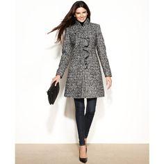 DKNY Wool-Blend Ruffled Walker Coat