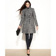 DKNY Wool-Blend Ruffled Walker Coat