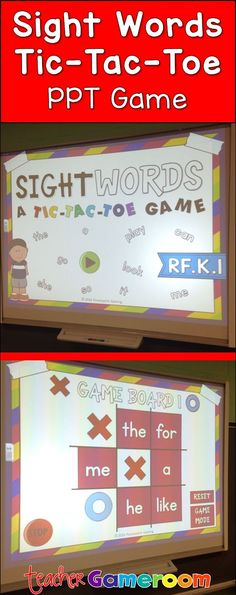"Practice sight words and play tic-tac-toe in the powerpoint game for smartboard. Students say the word, then choose ""X"" or ""o"". CCSS aligned."