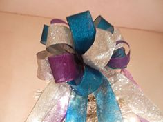 Large Teal and Purple Shimmer and silver Glitter  Christmas Tree topper bow by creativelycarole on Etsy