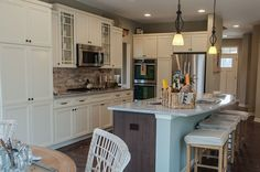 White and Wood Cabinets, Layout Sycamore Creek - Independence, KY New Homes - Bradford Model Nantucket Retreat