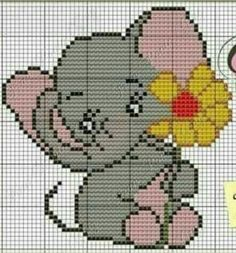 This Pin was discovered by Mfi Cross Stitch Pillow, Cute Cross Stitch, Cross Stitch Designs, Cross Stitch Patterns, Elephant Cross Stitch, Cross Stitch Animals, Crotchet Patterns, Crochet Stitches Patterns, Knitting Charts