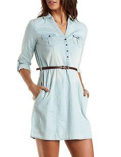 Belted Chambray Shirt Dress, 32.99