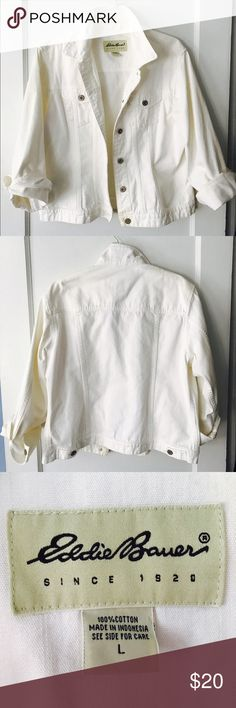Vintage 90's White Denim Jacket This vintage jacket offers that comfortable worn-in feeling in a fresh new color for spring/summer. Keep the 90's trend alive and pair with your favorite choker. Perfect with casual dresses and tanks alike. Eddie Bauer Jackets & Coats Jean Jackets