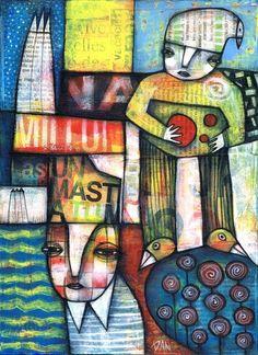 DAN-CASADO-outsider-folk-raw-art-wood-SEASHORE-original-collage-painting