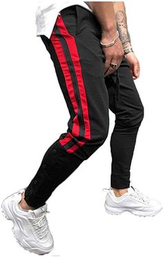 e8ea3b4c97 Franhais Mens Gym Jogger Pants Striped Patchwork Running Trousers Hiphop  Dance Jogger (M, Black