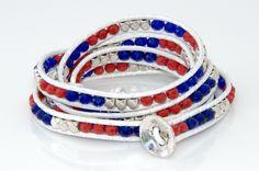 New England Patriots Wrap Beaded Wrap Bracelet by TeamWraps on Etsy