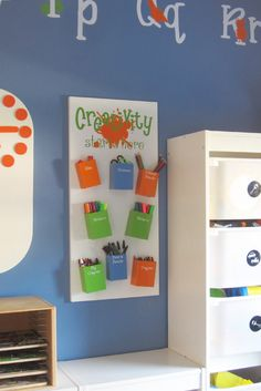 Kids craft supplies organizer, but lots of modification possibilities, too.