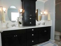 Bathroom, Elegant Black Bathroom Cabinet With White Countertops: Appealing Painting Bathroom Cabinet Ideas Black Cabinets Bathroom, White Bathroom Paint, Painting Bathroom Cabinets, Small Bathroom, Master Bathroom, Bathroom Vanities, Bathroom Storage, Bathroom Ideas, Bathroom Wall
