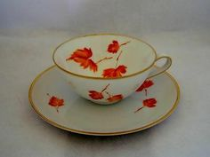 Hutschenreuther Selb Germany Favorit - Orange Maple Leaves - Cup & Saucer