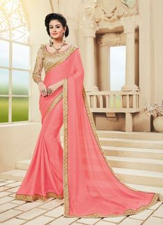 Women s Clothing - Ethnic Wear Pink Georgette Saree - 73622 - Products Details : Style : Party Wear Saree Size : Length Of Saree : - Ethnic Wear Pink Georgette Saree - 7