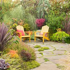 Instead of a fence, use plants to give your outdoor space privacy! More landscaping for privacy: http://www.bhg.com/gardening/landscaping-projects/landscape-basics/landscaping-ideas-for-privacy/?socsrc=bhgpin073113yellowchairs=10