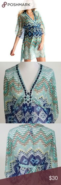 Embellished Maternity Cover Up Aztec print maternity beach cover up with hand stitched beading Seraphine Swim Coverups