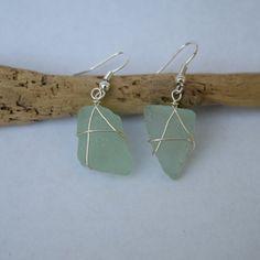 Maine Seaglass Earrings  Aqua/Seafoam by BeachBumsLife on Etsy