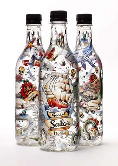 Good ol' Sailor Vodka Sweden's first vodka in PET bottle. It's also one of the first vodka made of organically grown, Swedish barley. The new Swedish eco-vodka is distilled four times and has a clean,. Cool Packaging, Beverage Packaging, Bottle Packaging, Brand Packaging, Organic Packaging, Design Packaging, Alcohol Bottles, Liquor Bottles, Vodka Bottle