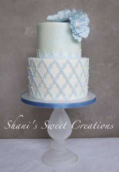 Blue Skies~ All hand made and edible sugar flowers - made with our Moroccan Lattice Silicone Onlay