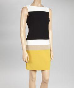 Look at this #zulilyfind! Ivory & Yellow Stripe Sleeveless Sheath Dress - Women & Plus #zulilyfinds