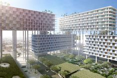 BIG reveals Miami Produce Center raised on stilts above warehouses Big Architects, Urban Village, Future Buildings, Schematic Design, Mixed Use Development, Downtown Miami, Florida Home, Miami Florida, Miami Beach