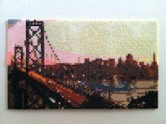 Bridge Skyline perler beads Wall Art by SweetLolitas