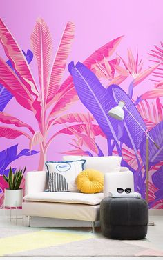 Feel like you're walking the streets of Miami, or a tropical haven with this pink and purple tropical jungle wallpaper. Tropical Wallpaper, Pink Wallpaper, Living Room Murals, Wall Murals, Murs Roses, Neon Licht, Summer Deco, Tropical Bedrooms, Pink Home Decor