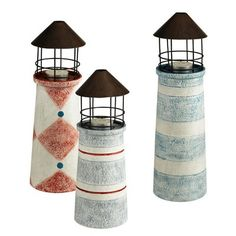 40 00 Grasslands Road Seaworthy Lighthouse Decor Tealight Candleholders Set Of 3 Boxed