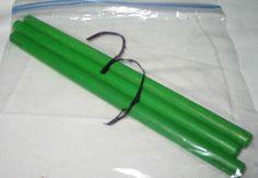 "Lot of 3 Hasbro Tinkertoy Construction 7"" Green Wood Stick Peg Rod Parts #Hasbro"
